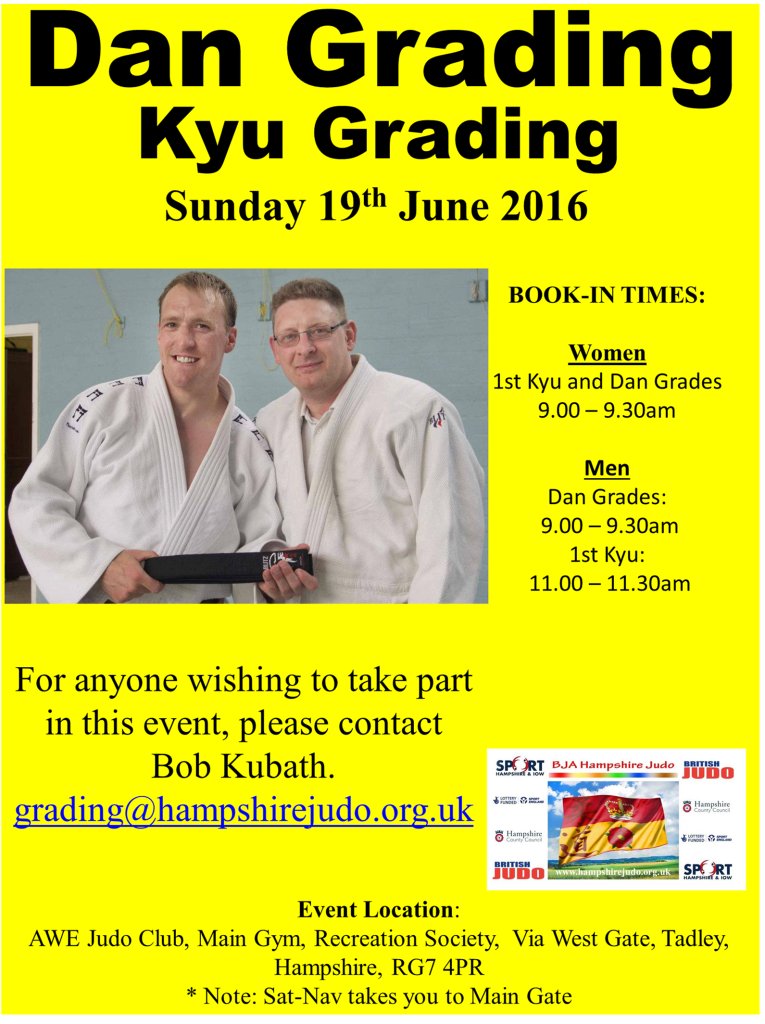 Hampshire Judo Dan Grading June 2016